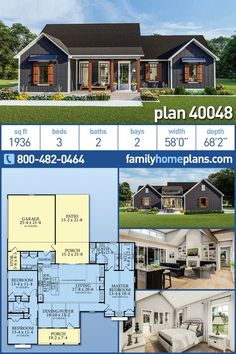 Traditional Style House Plan 40048 with 3 Bed, 2 Bath, 2 Car Garage - This elegant country home design has a traditional look with its gable rooves. Large bedrooms and a - Cottage Style House Plans, Country House Design, Cottage Style Homes, Ranch House Plans, Craftsman House Plans, Country House Plans, New House Plans, Dream House Plans, Small House Plans