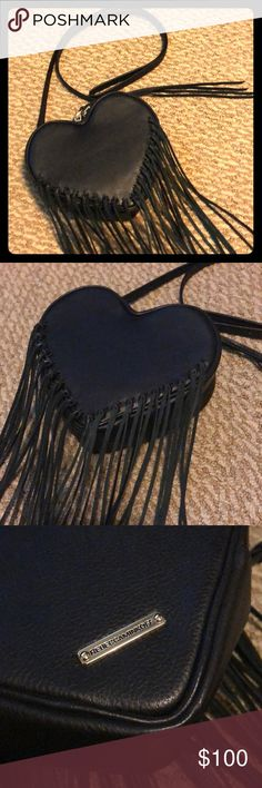 Rebecca Minkoff Heart Fringe Bucket Bag ADORABLE meets EDGY. Super cute small heart shaped fringe leather Crossbody. Used only once! Real leather. In perfect condition. Very roomy interior. Who can resist a fringe Rebecca Minkoff? SMOKE FREE HOME! Rebecca Minkoff Bags Crossbody Bags