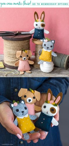 Pocket Pets These mini pets are the newest addition to our felt animal friends. This dog, cat and rabbit are super adorable and simple to make. Craft your own here https://liagriffith.com/felt-mini-pets/ * * * #pets #felt #feltcraft #feltcrafts #feltcute #felting #animals #stuffedanimals #pocketpet #sew #sewing #sewingaddict #diy #diycraft #diycrafts #diyproject #diyprojects #diyidea #diyinspiration #diykids #madewithlia