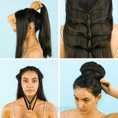 Easy Hairstyles For Long Hair, Braids For Long Hair, Up Hairstyles, Amazing Hairstyles, Hairstyle Ideas, Easy Vintage Hairstyles, Hairdos, Hair Up Styles, Medium Hair Styles