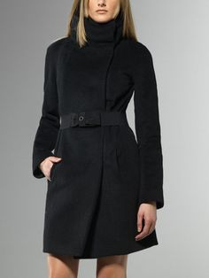 Coat, Raglan sleeve, statement collar, with detachable belt, Mohair, Alpaca and Wool, hidden buttons, with Patrizia Pepe logo button - 2S0732- AK07 - Explore the glamorous world of Patrizia Pepe, discover the latest trends in Digital Boutique, Clothing and Accessories
