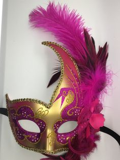 Pink and Gold Mardi Gras Mask