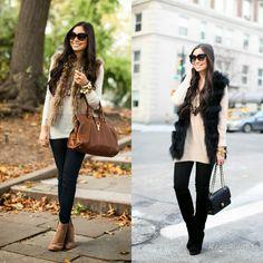 Уличная мода: Офисный стиль business casual осень-зима 2014-2015: утепленные модные образы