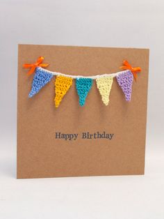 A cute crochet card that is unique and colourful. A birthday card / greeting card of mini crochet bunting. www.fb.com/violetheartbyclare www.violetheartbyclare.etsy.com
