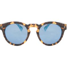ILLESTEVA Leonard Sunglasses featuring polyvore, fashion, accessories, eyewear, sunglasses, glasses, tortoise shell glasses, mirror sunglasses, tortoiseshell sunglasses, rounded sunglasses and cocktail glasses