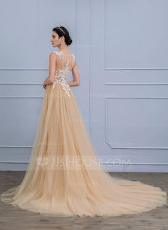 [US$ 187.49] A-Line/Princess Scoop Neck Court Train Tulle Lace Wedding Dress (002107855)