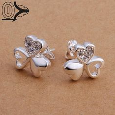 Free Shipping!!Wholesale Silver Plated Earring,Wedding Jewelry Accessories,Fashion CZ Diamond Clover Heart Earrings For Women