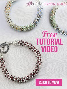 Try out this tutorial for a GORGEOUS gemmy looking bracelet! The combination of the right seed beads and the right bicones is what makes this so classy. Diy Beaded Bracelets, Beaded Bracelet Patterns, Jewelry Patterns, Beaded Jewelry, Handmade Jewelry, Diy Bracelet, Bracelet Tutorial, Jewelry Making Beads, Beads And Wire
