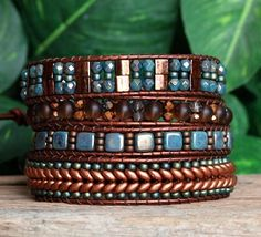 Turquoise Copper Wrap Bracelet Beaded Leather Wrap by PJsPrettys