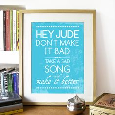 Beatles Song Music HEY JUDE Poster Art print illustrated with Typography - A3 size Poster art print fits 11x14 inch opening frame Poster