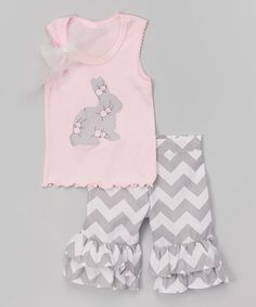 This Pink & Gray Bunny Tank & Ruffle Shorts - Infant, Toddler & Girls is perfect! #zulilyfinds
