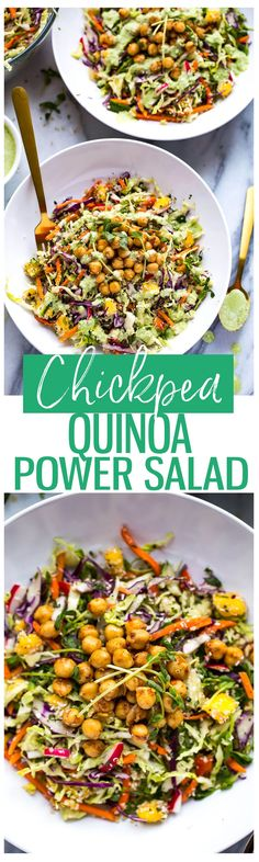 This Chickpea Quinoa Power Salad with Jalapeno Dressing is a delicious, vegetarian rainbow slaw with diced mango and 2-minute chili lime chickpeas!