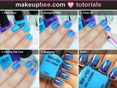 Gradient & Stamp Tutorial #Nails #NailArt on @Makeupbee