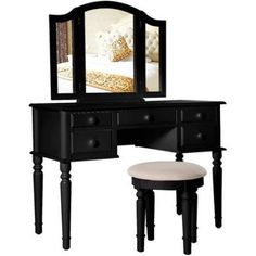 Merax Black Vanity Table Set with Mirror and Stool Make-up Dressing Table, 3 Mirrors 5 Drawers