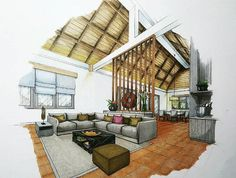 Contemporary Interior Design Info: 3205684419 - All For Decorations Interior Architecture Drawing, Interior Design Renderings, Interior Design Process, Drawing Interior, Architecture Sketchbook, Interior Rendering, Interior Sketch, Contemporary Interior Design, Architecture Design