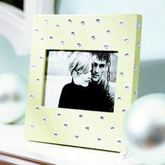 Polka-Dot Picture Frame - pencil eraser polka dots with rhinestones