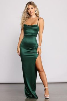 Green Satin Dress, Satin Dresses, Ball Dresses, Long Satin Dress, Silk Formal Dress, High Slit Dress, Silky Prom Dress, Long Dress With Slit, Satin Bodycon Dress