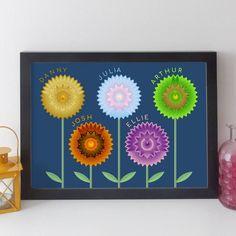 Personalised Family Flowers Print By Elevencorners | notonthehighstreet.com