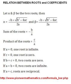 relation between roots and coefficients pioneer mathematics maths formula