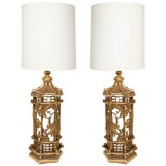 Pair of Exceptional Gilt Chinoiserie Lamps in the Manner of James Mont | From a unique collection of antique and modern table lamps at http://www.1stdibs.com/furniture/lighting/table-lamps/