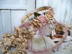 Lampshade salvaged shabby chic vintage by AnitaSperoDesign on Etsy, $135.00