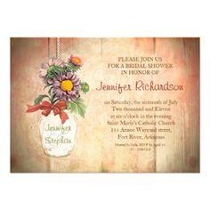Mason jar with flowers bridal shower invitation #bridal #shower #invitations #art #flowers #jar #floral #zazzle