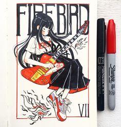 Inktober Day 2  Gibson Firebird VII 🎸🔥Nike Airmax 1 OG Sweet Drawings, Cool Drawings, Drawing Competition, Art Prompts, Sad Art, Marker Art, Aesthetic Art, Art Sketchbook, Cartoon Art