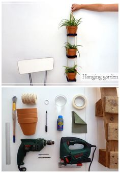 "Fall in love with this cute hanging garden and recycle all your pallets leftovers!  Full tutorial in Spanish (but with many pictures) available on my blog 2nd Funniest Thing :) [symple_box color=""gray"" fade_in=""false"" float=""center"" text_align=""left"" width=""100%""] Website: 2nd Funniest Thing…"