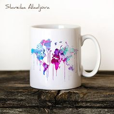 Map Mug Watercolor Ceramic Mug Unique Gift by WatercolorBook