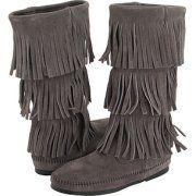 gray fringe boots