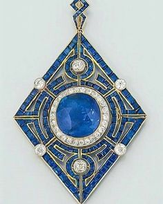 A Belle Époque sapphire and diamond pendant, c. 1900