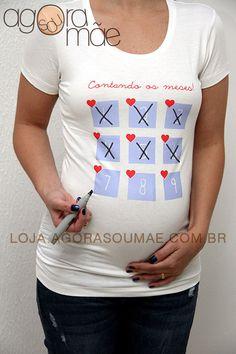 Camiseta Contando os Meses! - Agora sou mãe camisetas para grávidas