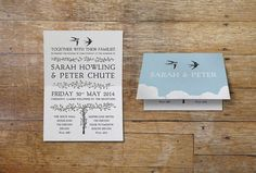 Swallow wedding invitation. This romantic design features a pair of swallows soaring high above the clouds together. It is printed on recycled heavy weight card, with a fold in the middle, and inside the card has beautiful hand drawn vines and vintage font. Romantic wedding stationery design,  birds, blue. www.vintage-designs.co.uk