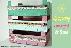 Cajas de fruta shabby chic / Vintage fruit crates www.manualidadesytendencias.com #cajas #fruta #crate #fruit #cagette #shabby #chic  #manualidades #decoración #homedecor #déco #craft #pintura