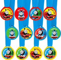 THOMAS THE TANK ENGINE PARTY SUPPLIES 12 AWARD MEDAL RIBBONS GENUINE LICENSED