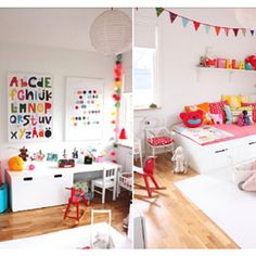 stuva, ikea- white kids room with pops of colors Ikea Kids, White Kids Room, Baby Room Pictures, Deco Kids, Boy Girl Room, Kids Decor, Home Decor, Playroom Decor, Decor Ideas