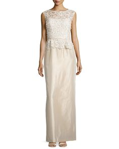 Sleeveless Embroidered Peplum Column Gown, Size: 10, Champagne - Rickie Freeman for Teri Jon