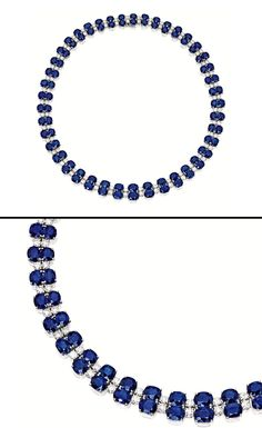 SAPPHIRE AND DIAMOND NECKLACE.  The double-row necklace set with numerous graduated cushion-shaped sapphires together weighing approximately 72.60 carats, spaced by brilliant-cut diamonds together weighing approximately 10.30 carats, mounted in platinum, length approximately 405mm.
