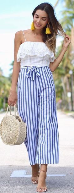 #spring #outfits The Easiest Way To Look Chic This Summer? Add A Pair Of High Waisted Pants To Your Fave Crop Top 🙌🏼
