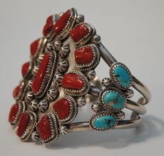 Tall heavy vintage hallmarked Navajo coral and por navajodreams