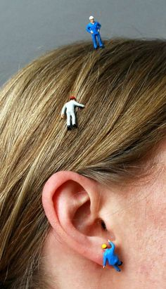 DIY Lilliput Jewelry Tutorial. These are made from miniature railroad figures.
