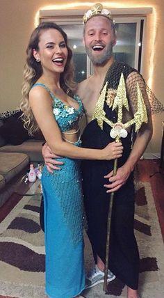 Mermaid and Poseidon Halloween costumes.