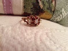 9 kt gold Edwardian Ruby and Opal ring