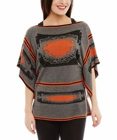 Another great find on #zulily! Orange & Gray Abstract Cape-Sleeve Sweater by Miss Nikky #zulilyfinds