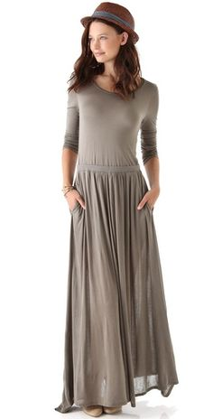 Love it...  Totally love this dress!!!  I think I would love to see it in a dark or heathered green... Heather Long Sleeve Maxi Tee Dress