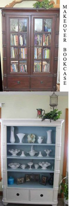 Simple Before and After Bookcase I turned into my favorite milk glass display case