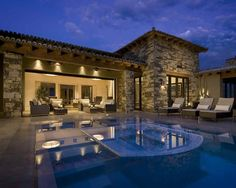 Love the opening between the living room and pool area. Home trends small luxury home