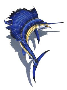 Porcelain Sailfish Shadowed Mosaic