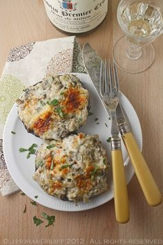 Crab-stuffed portabello mushrooms. Ha! As if my family would actually eat these! But I would, and I'm longing to be able to pair them with wine...