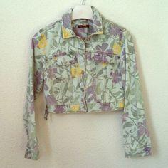 Pull & Bear (Zara) Floral Denim Cropped Jacket Cropped denim jacket by Pull and Bear, Zara's young brand. Pull & Bear Jackets & Coats